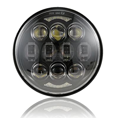 "2020 New Brightest DOT Approved 80W Osram Chips 5-3/4"" 5.75"" Round LED Projection Headlight for Harley Motorcycles Black: Automotive"