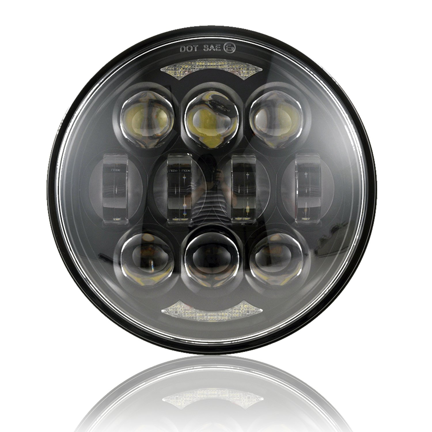 2019 New Brightest DOT Approved 80W Osram Chips 5-3/4'' 5.75'' Round LED Projection Headlight for Harley Motorcycles Black by LX-LIGHT