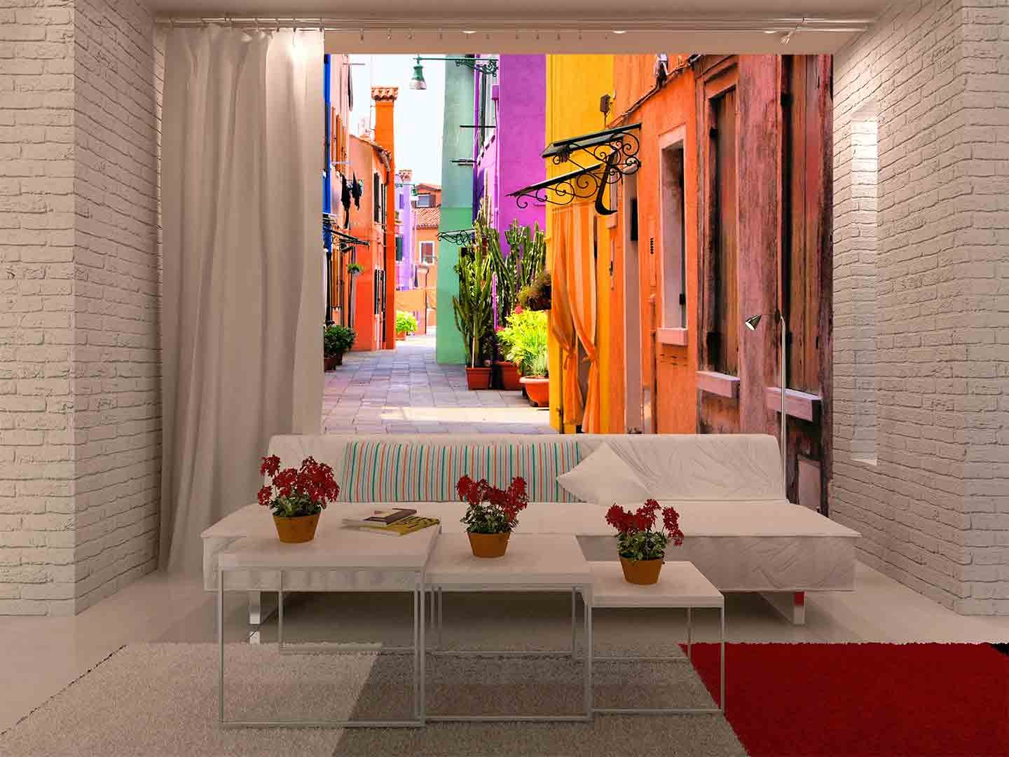 wall26 - Colorful Street in Burano, near Venice, Italy - Removable Wall  Mural | Self-adhesive Large Wallpaper - 100x144 inches