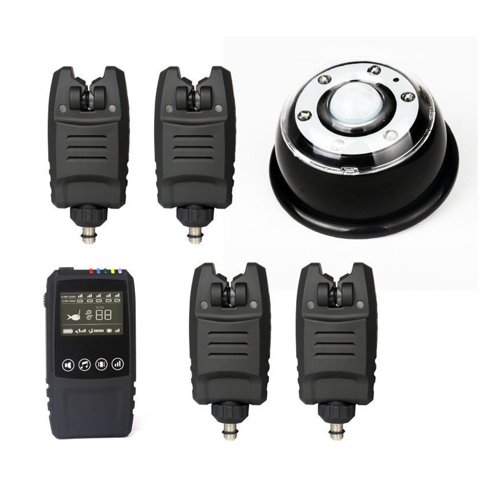 Waterproof Wireless Carp Fishing Bite Alarm Set 4Bite Alarms +1Receiver+1Lamp Receiver by OLDCARP