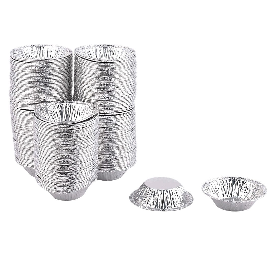 uxcell Aluminium Foil Home Baking Disposable Cake Egg Tart Chocolate Mold 250pcs Silver Tone