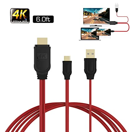 USB C to HDMI 4K Cable 6ft for MacBook 2018 iPad Pro iMac ChromeBook Pixel  Galaxy S9 Note9 S10 TV Monitor Projector Surface Book Pro Dell, IF-LINK USB