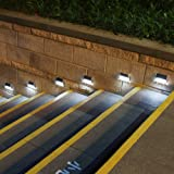 [Upgraded 3 LED] GVSHINE Outdoor Stainless Steel LED Solar Step Light, Solar Powered Stair Lights, Outdoor Lighting for Steps Paths Patio Decks, Auto On/Off Waterproof 6 Pack