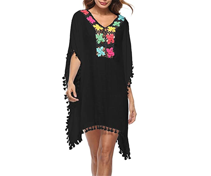 c7822be5af Amazon.com  Jongood Stylish Women Swimsuit Cover Up Crochet Lace Hollow Out  Boho Loose Beach Style Bikini Cover-up Summer Wear Black One Size  Clothing