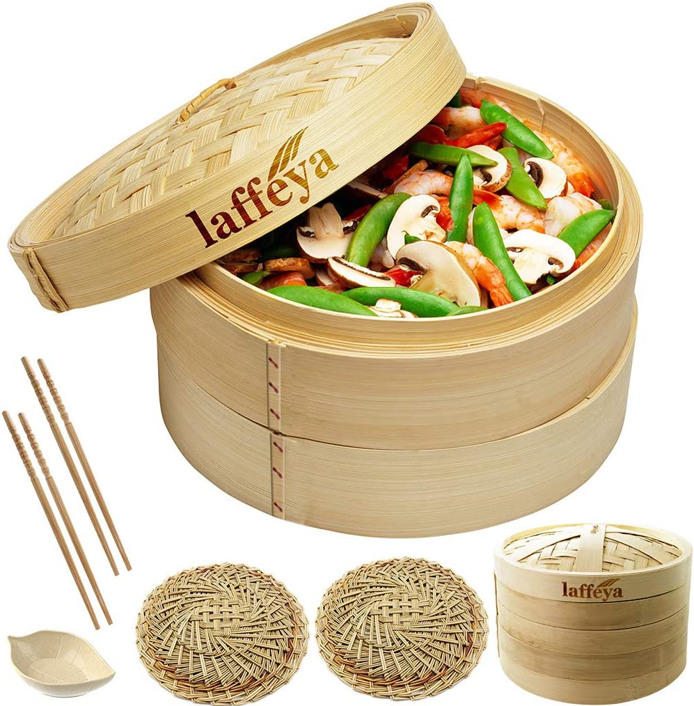 Bamboo Steamer Basket 10 inch, Bamboo Steamer for Cooking Vegetables, Seafood, Rice, Meat and Fish- Healthy Food Prep - Perfect for Dim Sum Dumpling & Bao Bun Food Steamers (10inch)