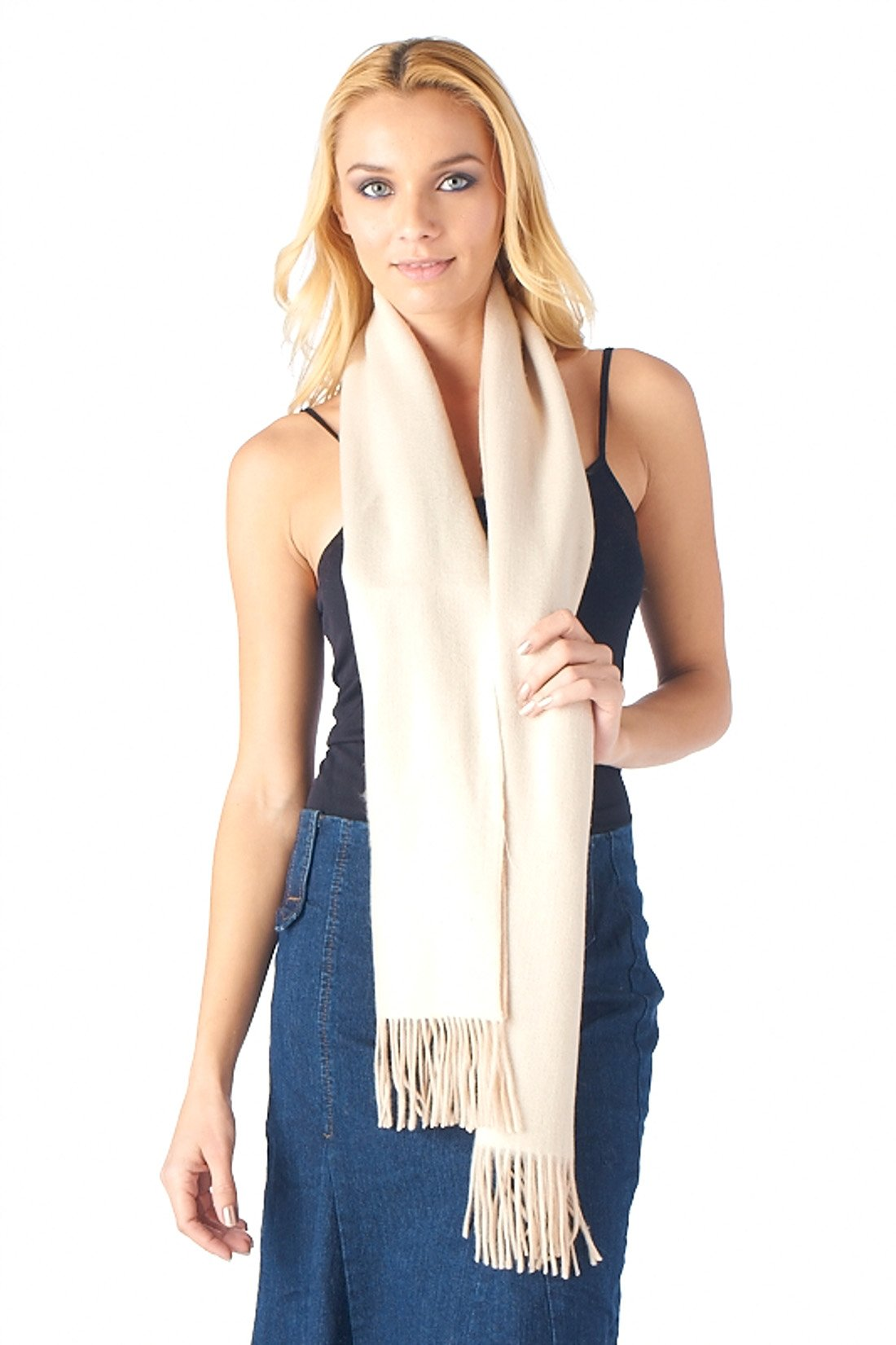 High Style 100% Cashmere Men and Women Double Faced Scarf (99366, Lt Camel and Ivory)