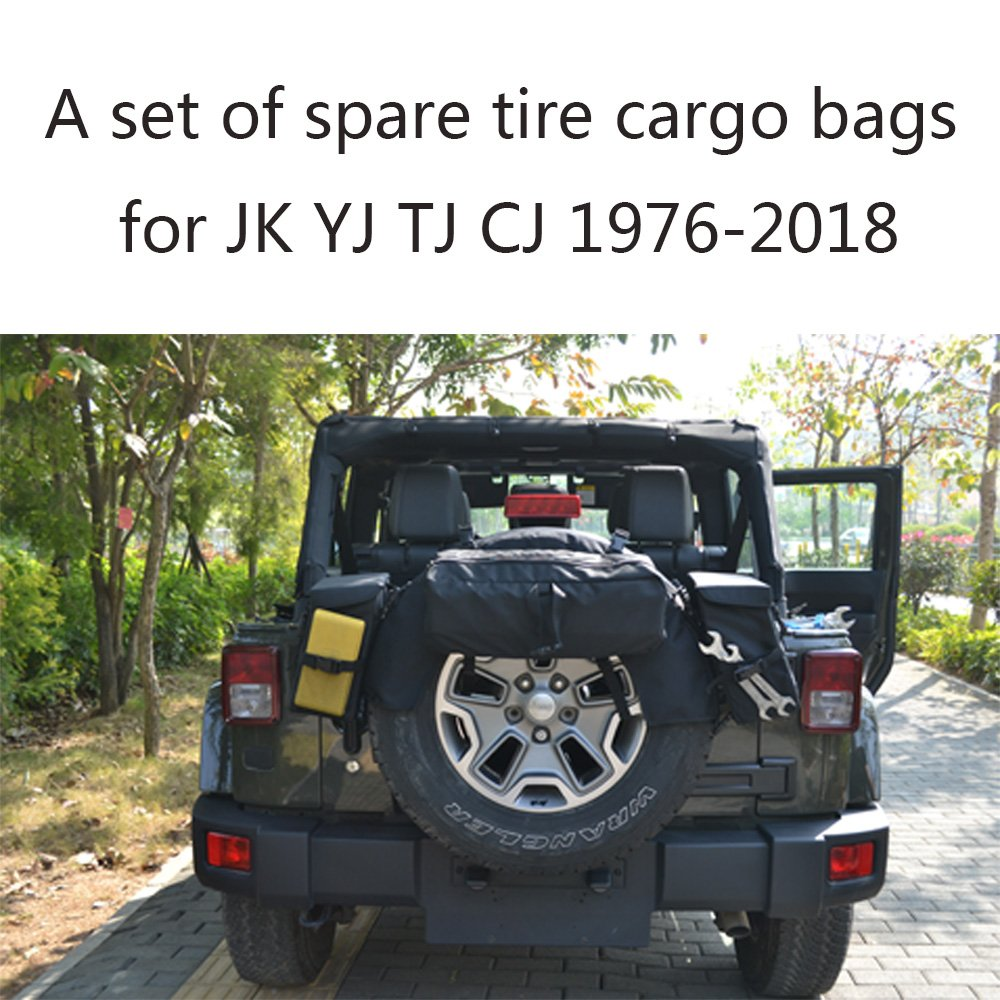 Joytutus For Jeep Wrangler Cargo Bag Spare Tire Storage Organizer for JK YJ TJ CJ 1976-2018