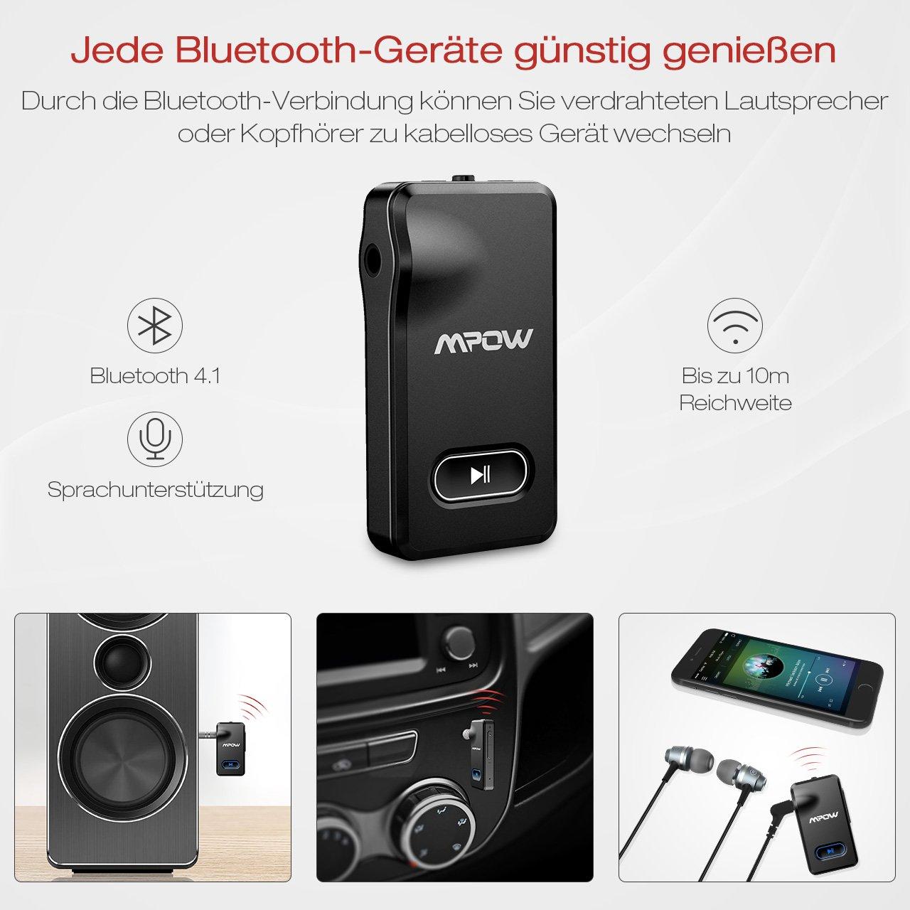 Bluetooth Empfänger Mpow,[EIN/AUS Taste,Neues Design] Auto Audio ...