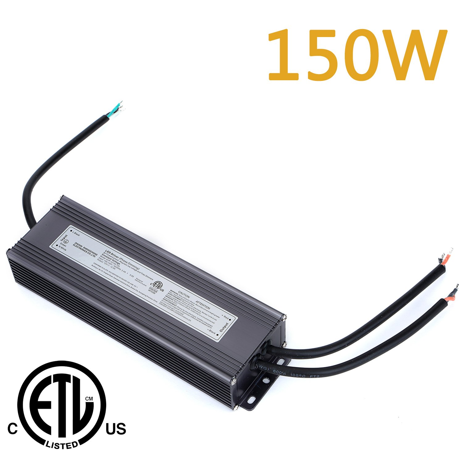 Weanas 150W LED Power Supply Driver Transformer Adapter ETL Listed 110V AC to 12V DC 12.5A Current Output Constant Voltage for LED Light Bulb low voltage and Triac Dimmers (150W)