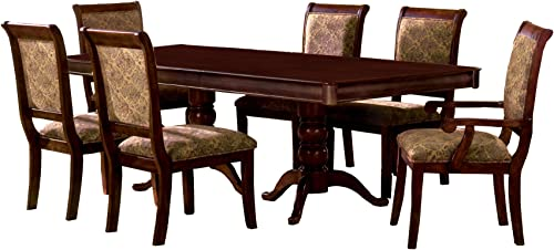 Furniture of America Bernette 7-Piece Double Pedestal Dining Table Set with 18-Inch Expandable Leaf, Antique Cherry Finish