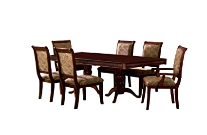 Furniture Of America Bernette 7 Piece Double Pedestal Dining Table Set With  18 Inch