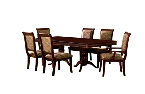 furniture of america bernette 7 piece double pedestal dining table set with 18 inch - Pedestal Dining Room Table With Leaf