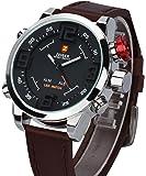 Herren Armbanduhr ZEIGER Herrenuhr Braun Digital LED Analog Quarz Uhr Leder Armband Datum Tag Licht Wecker