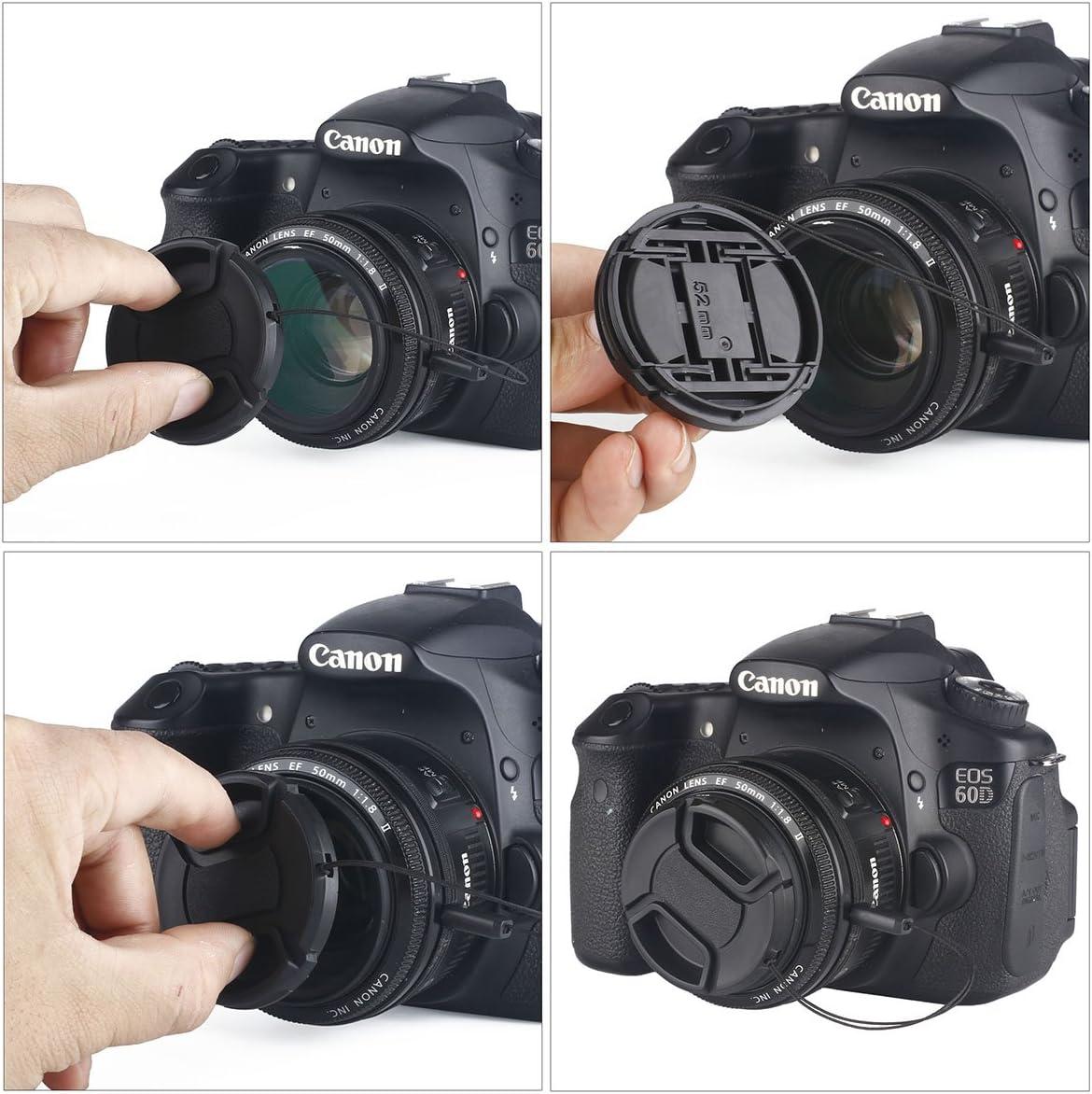 Unique Design Lens Cap Bundle Microfiber Cleaning Cloth 3 Pcs 58mm Center Pinch Lens Cap and Cap Keeper Leash for Canon Nikon Sony DSLR Camera
