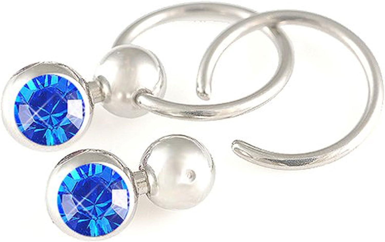 Barbell Ring Labret Stud BCR 1.2 /& 1.6 Titanium Body Jewellery Piercings