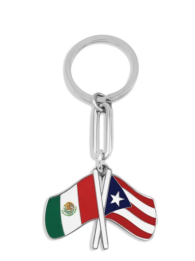 flagsandsouvenirs Puerto Rico Flag & Mexico Flag Keychain Bandera de Puerto Rico Y Mexico llavero