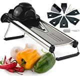 Chef's INSPIRATIONS Premium V-Blade Mandolin Slicer, Cutter, Julienne and Food Grater. Best for Slicing Onions, Potatoes, Tomatoes, Fruit and Vegetables. Includes 6 Inserts, Cleaning Brush, Blade Safety Sleeve. Stainless Steel