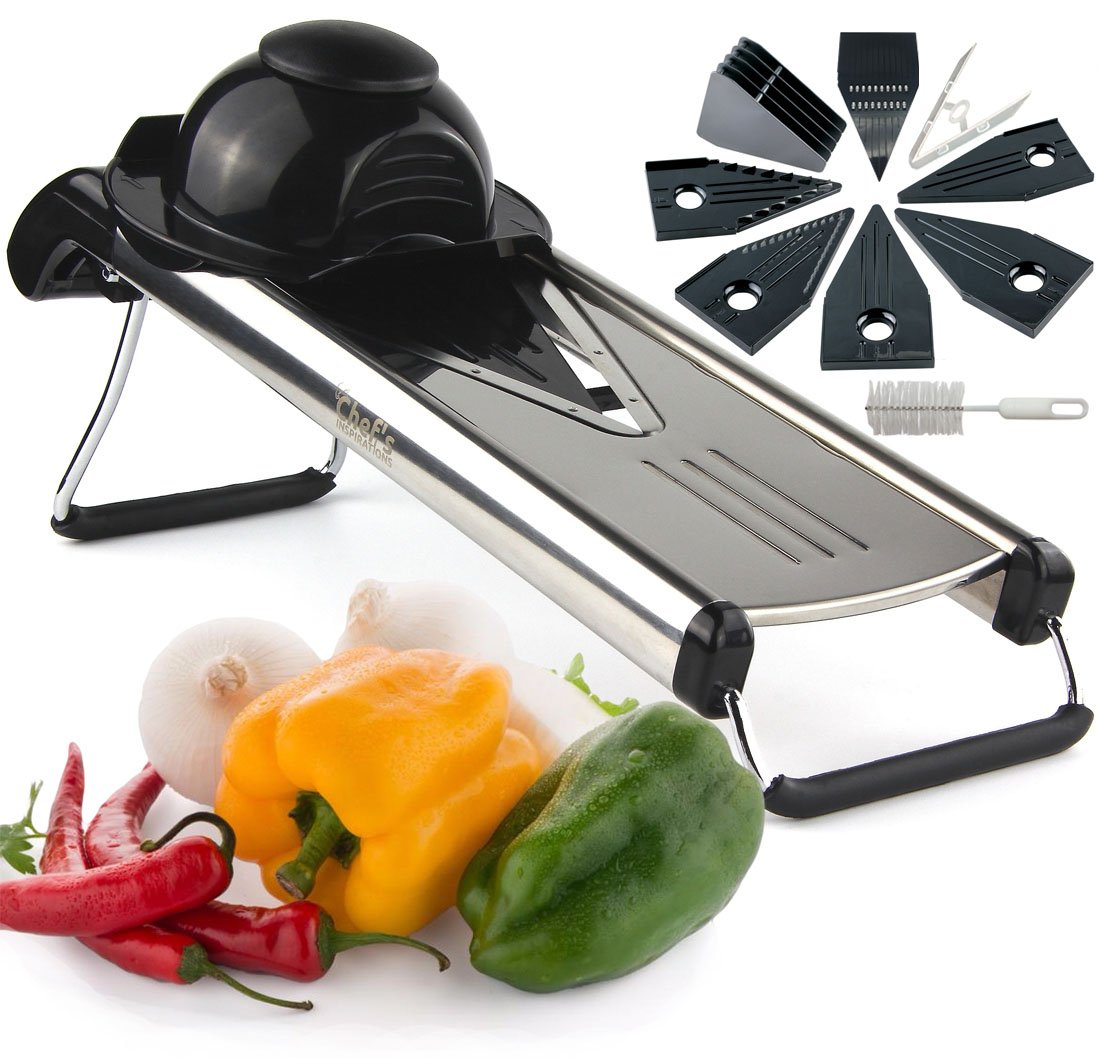 Chef's INSPIRATIONS Premium V-Blade Mandoline Slicer, Cutter, Julienne and Grater. Best For Slicing Food, Fruit and Vegetables. Includes 6 Inserts, Cleaning Brush, Blade Safety Sleeve. Stainless Steel Harcas Utensils CFvb1