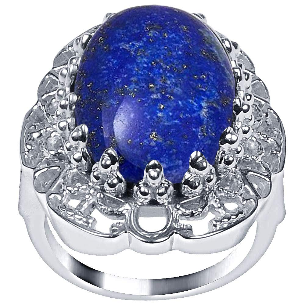 Blue Lapis Lazuli Anniversary Rings By Orchid Jewelry: Womens Gemstone Engagement & Promise Ring For Her, September Birthstone Jewelry, Sterling Silver Fashion Rings Size 10 | (13.5 Ctw)