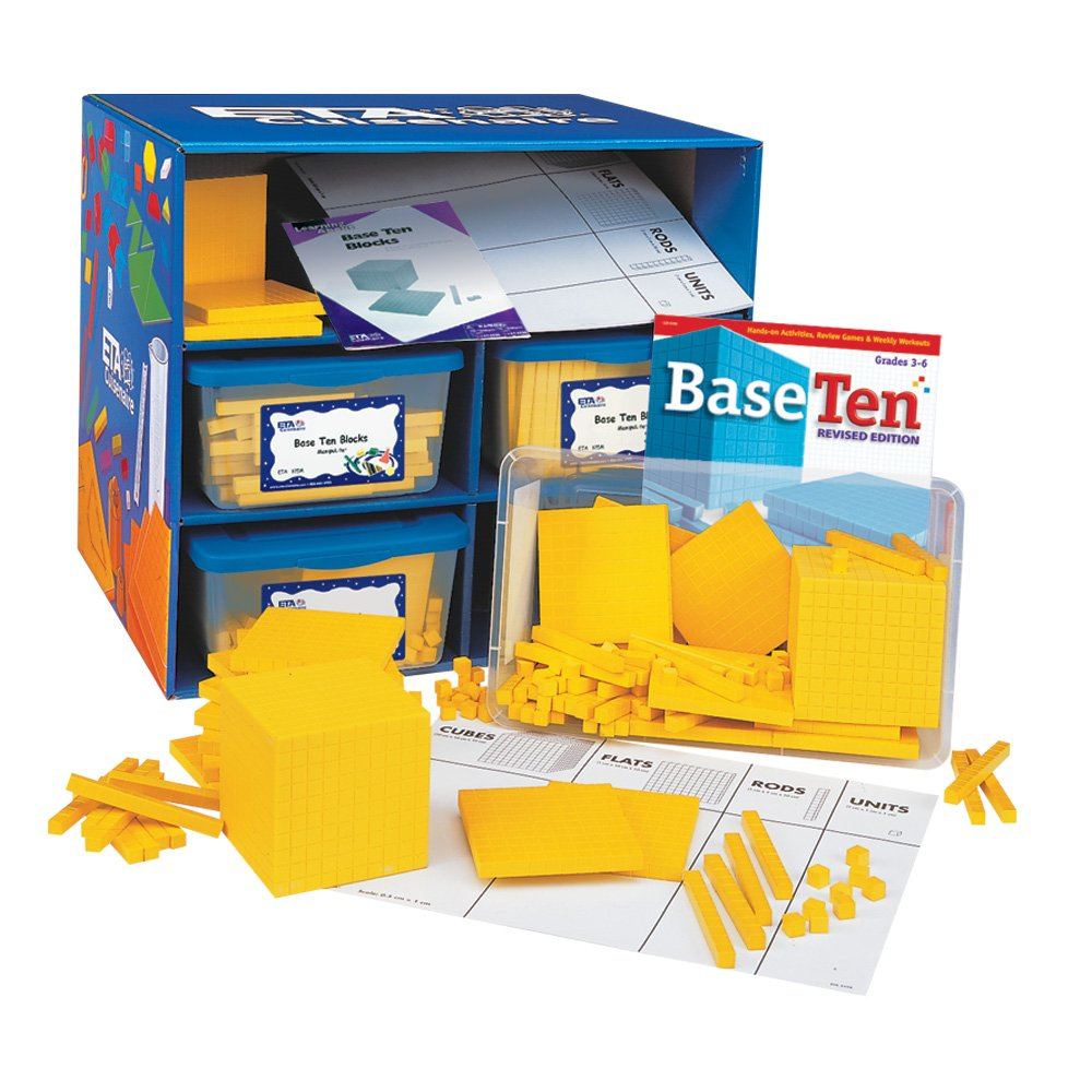 hand2mind Yellow Plastic Base Ten Blocks, Class Set
