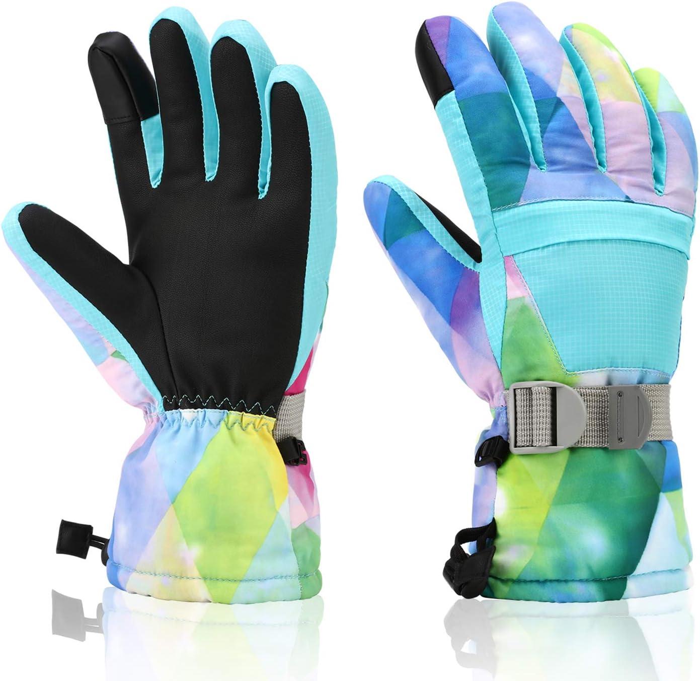 Ami/&Li tots Snow Ski Winter Mittens Gloves Waterproof for Baby Children Boys Girls Fleece Lining with Safety Buckle