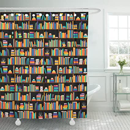 TOMPOP Shower Curtain Shelf Books On Shelves Bookcase Library Education Training Literature Waterproof Polyester Fabric 72
