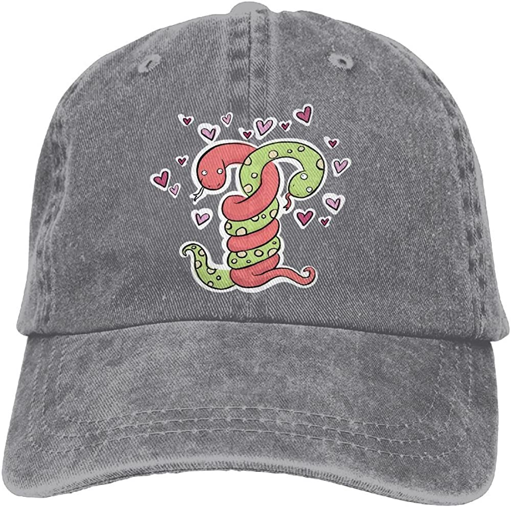 Denim Baseball Cap Snakes Heart Love Summer Hat Adjustable Cotton Sport Caps