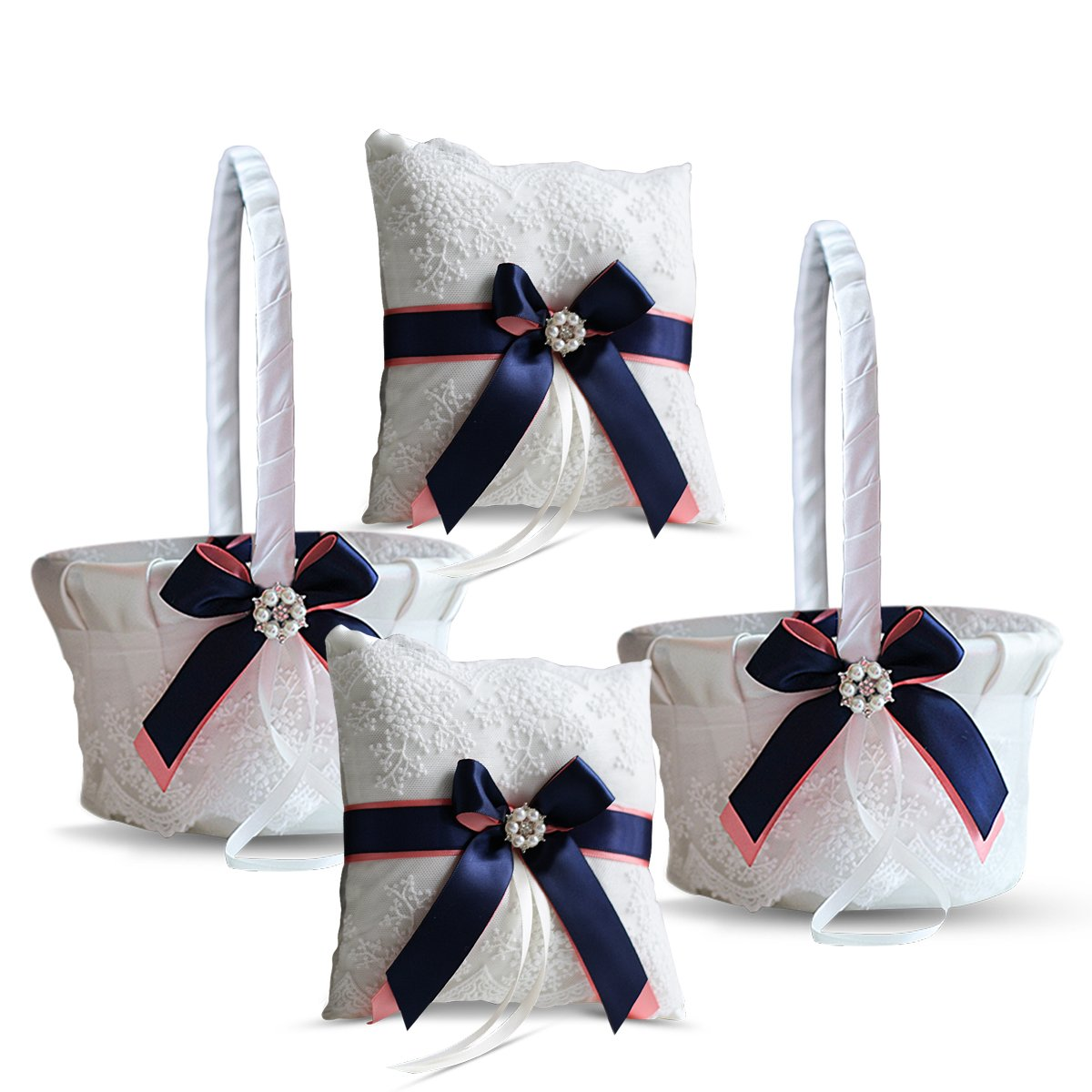Roman Store Ivory Ring Bearer Pillow and Basket Set | Lace Collection | Flower Girl & Welcome Basket for Guest | Handmade Wedding Baskets & Pillows (Coral Navy Blue) by Roman Store (Image #1)