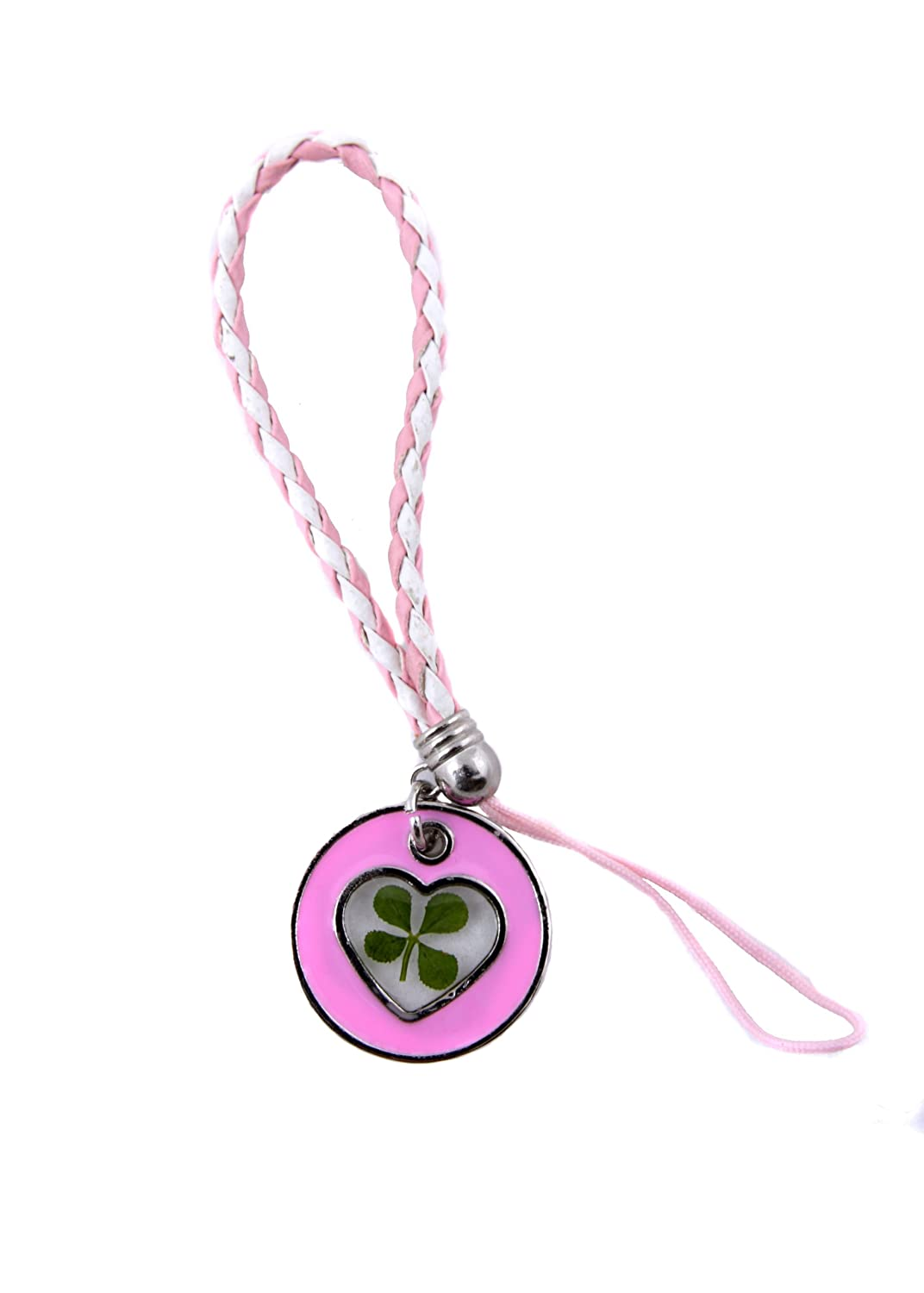 Pink Heart Real Four Leaf Clover Mobile and Bag Charm