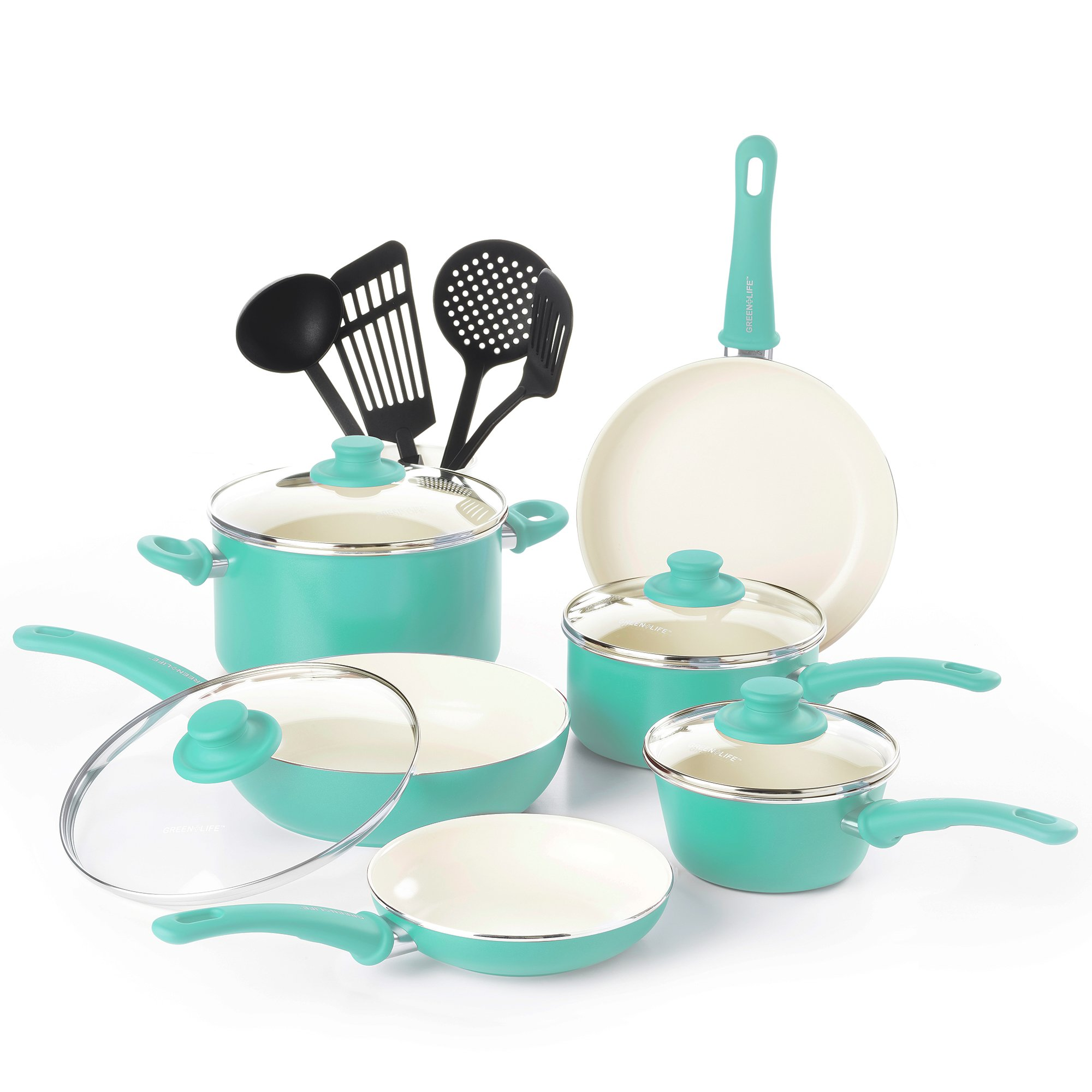 GreenLife CW000531-002 Soft Grip Absolutely Toxin-Free Healthy Ceramic Nonstick Dishwasher/Oven Safe Stay Cool Handle Cookware Set, 14-Piece, Turquoise