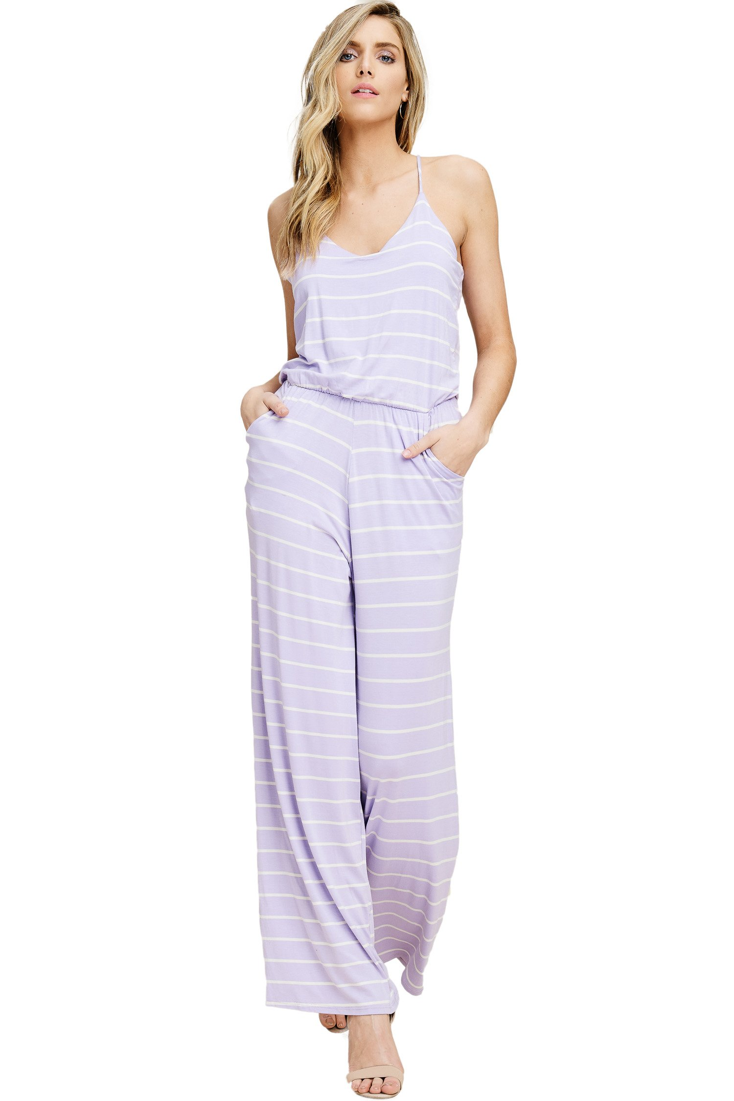 Annabelle Women's V-Neckline Sleeveless Tank Top Striped Print Flared Leg Elastic Waist Jumpsuit with Side Slant Pockets Lilac-Ivory Small J8078
