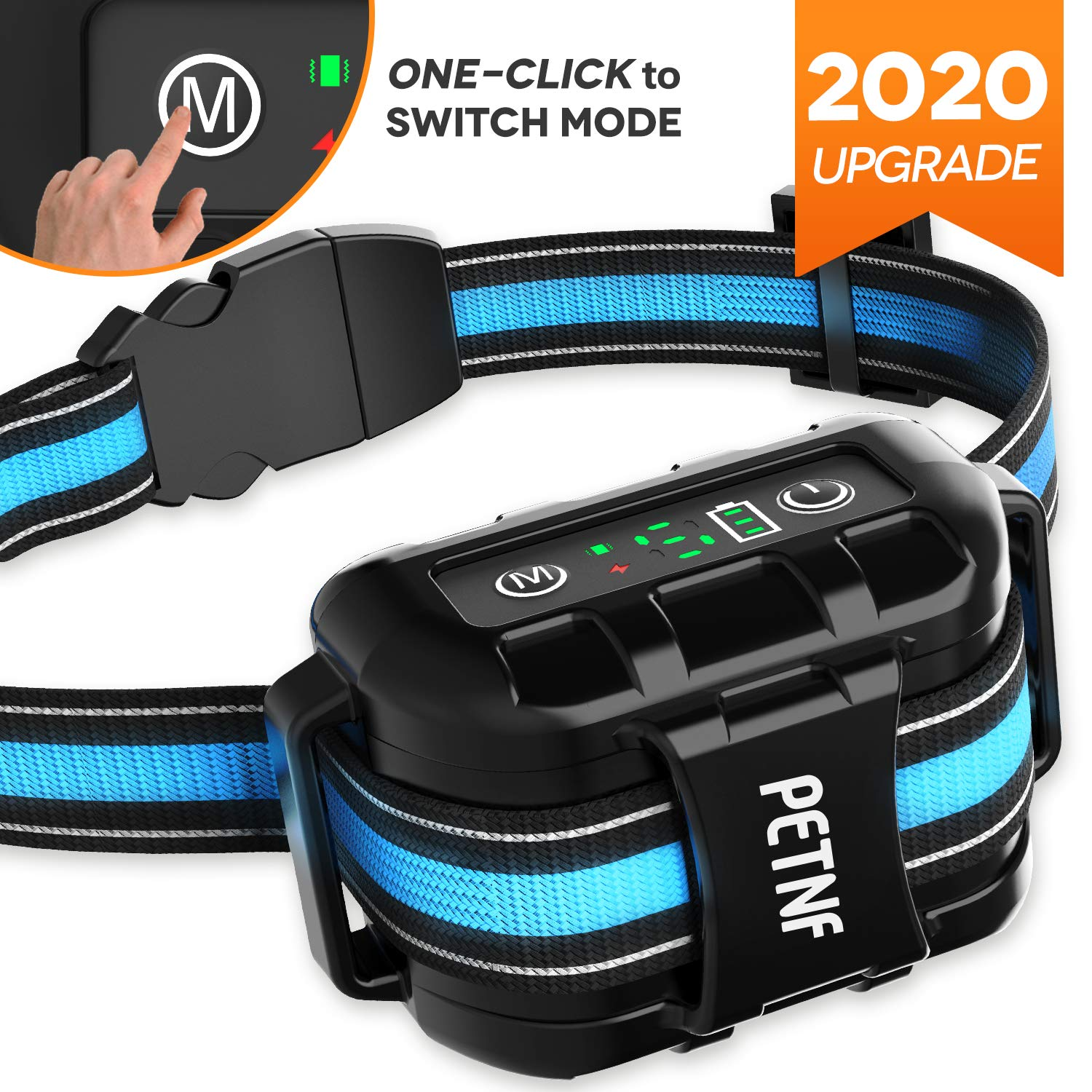 2020 New Upgrade Bark Collar for Large Medium Small Dog,Dog Bark Collar IP67 Waterproof Shock Collar,Rechargeable Anti Barking Collar for Dogs,Stop Barking Control Device,Humane Safe Electric Collar