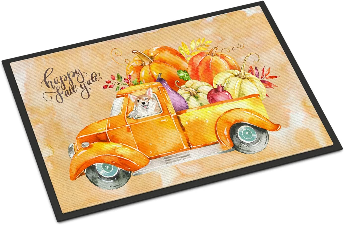 Caroline s Treasures CK2663MAT Fall Harvest Corgi Indoor or Outdoor Mat 18×27, 18H X 27W, Multicolor