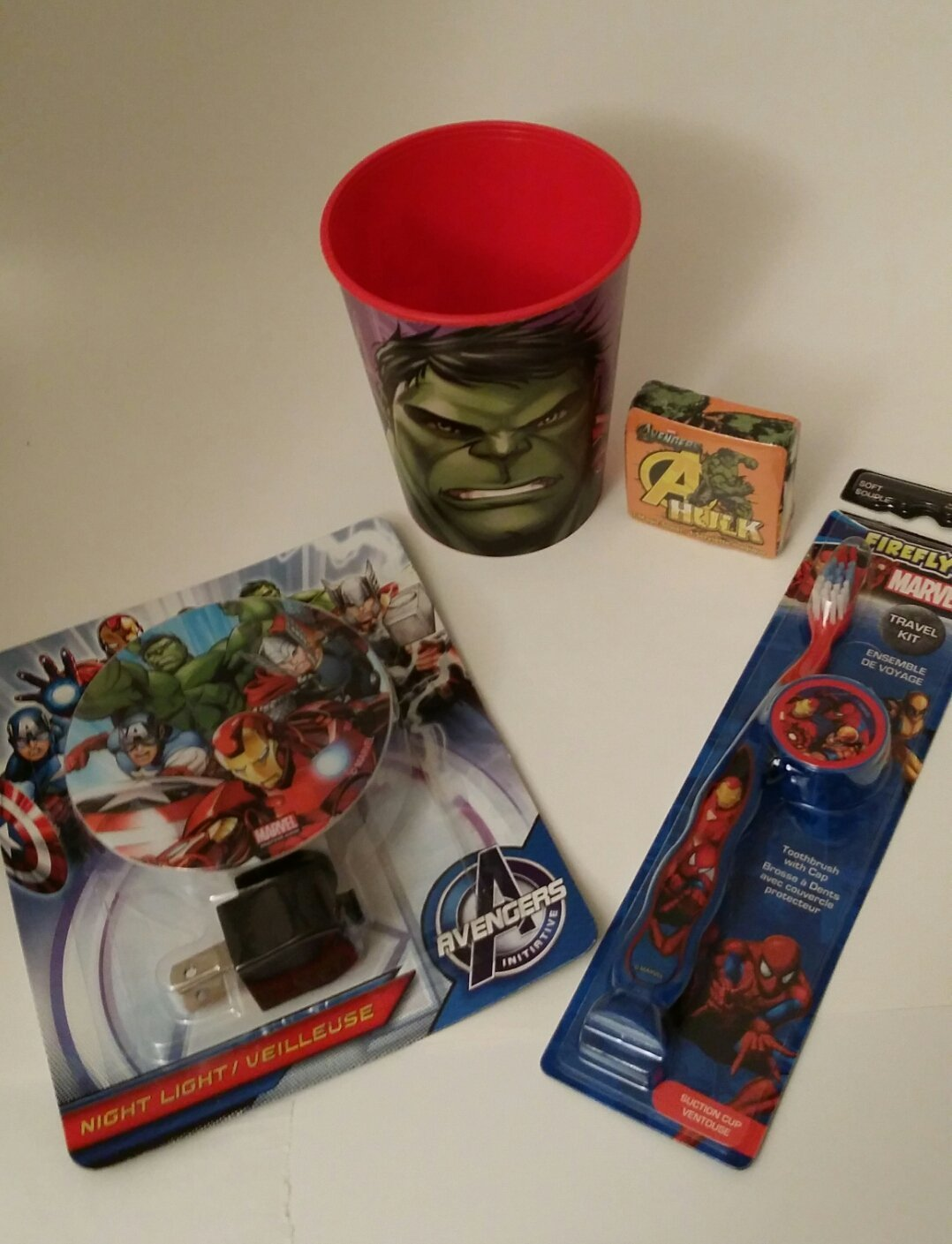 4 Piece Avengers bath bundle Avengers nightlight Avengers Toothbrush Avengers Cup Avengers Hulk washcloth