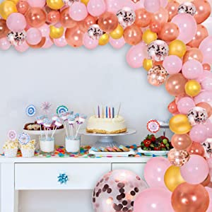 Rose Gold Balloons Garland Arch Kit DIY Decoration set, 125pcs :Rose Gold +Gold+Pink+ White+large Confetti with Balloon Strip and ribbon, for Birthday, Party, Christmas, Wedding, Anniversary( 2 Sizes ,10in and 12in)