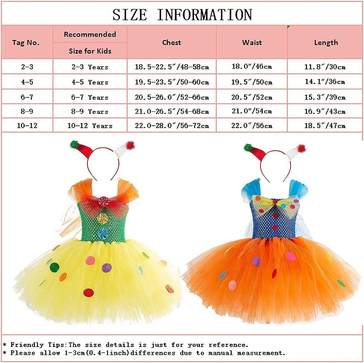 HIHCBF Circus Clown Girl Costume Handmade Tutu Dress Kids Funny Role Play Halloween Christmas Carnival Outfits w//Hair Hoop