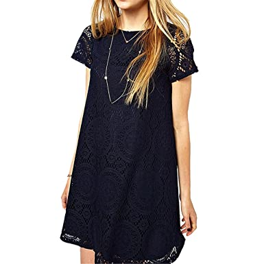 Chiffoned New Summer Lace Printing Casual Dress Loose O Neck Short Sleeve Hollow Out Beach Plus
