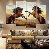 LianLe 4PCS Tableau Peinture Huile Toile Oils Paintings Peint Mer Cheval Sans Châssis Sans Cadre ,cheval