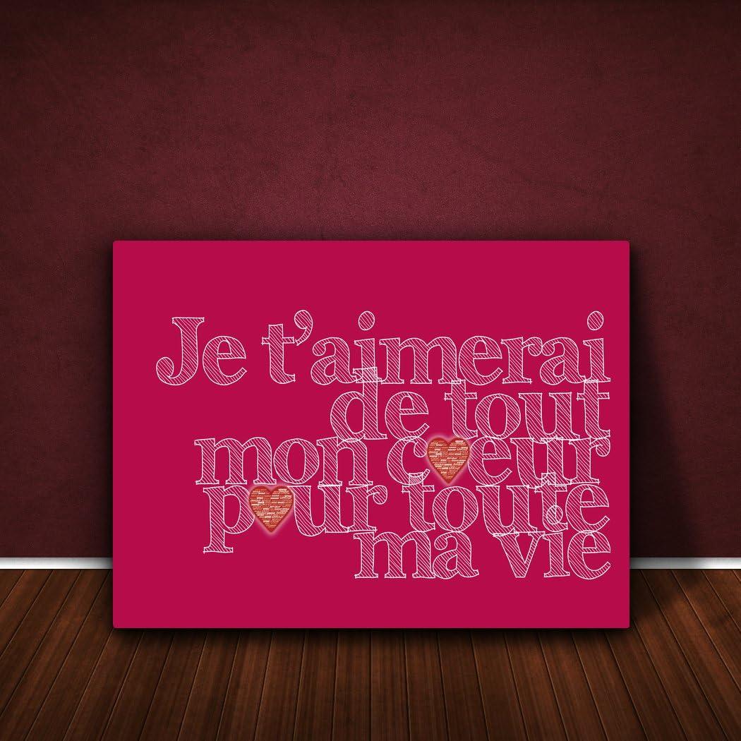 Vert P/âle 30 X 20 cm Feel Good Art Toile sur Cadre Je taimerai de Tout mon Coeur pour Toute ma Vie
