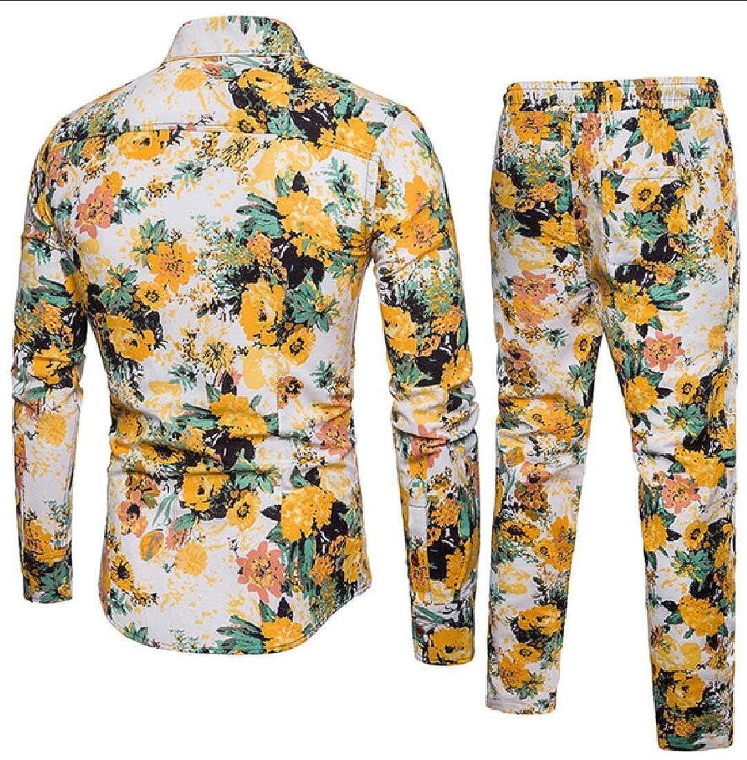 HTOOHTOOH Men Casual Long Sleeve Business Slim Fit Lapel Shirt Blouse Top and Pants