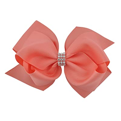 Maoke 6 Inch Baby Girls Hair Bows Grosgrain Ribbon Knot Hair Clips With Rhinestones