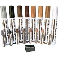Meubelreparatie houtreparatiestiften retoucheerpen – 17 markers en wasstiften, voor vlekken, krassen, houten vloeren…
