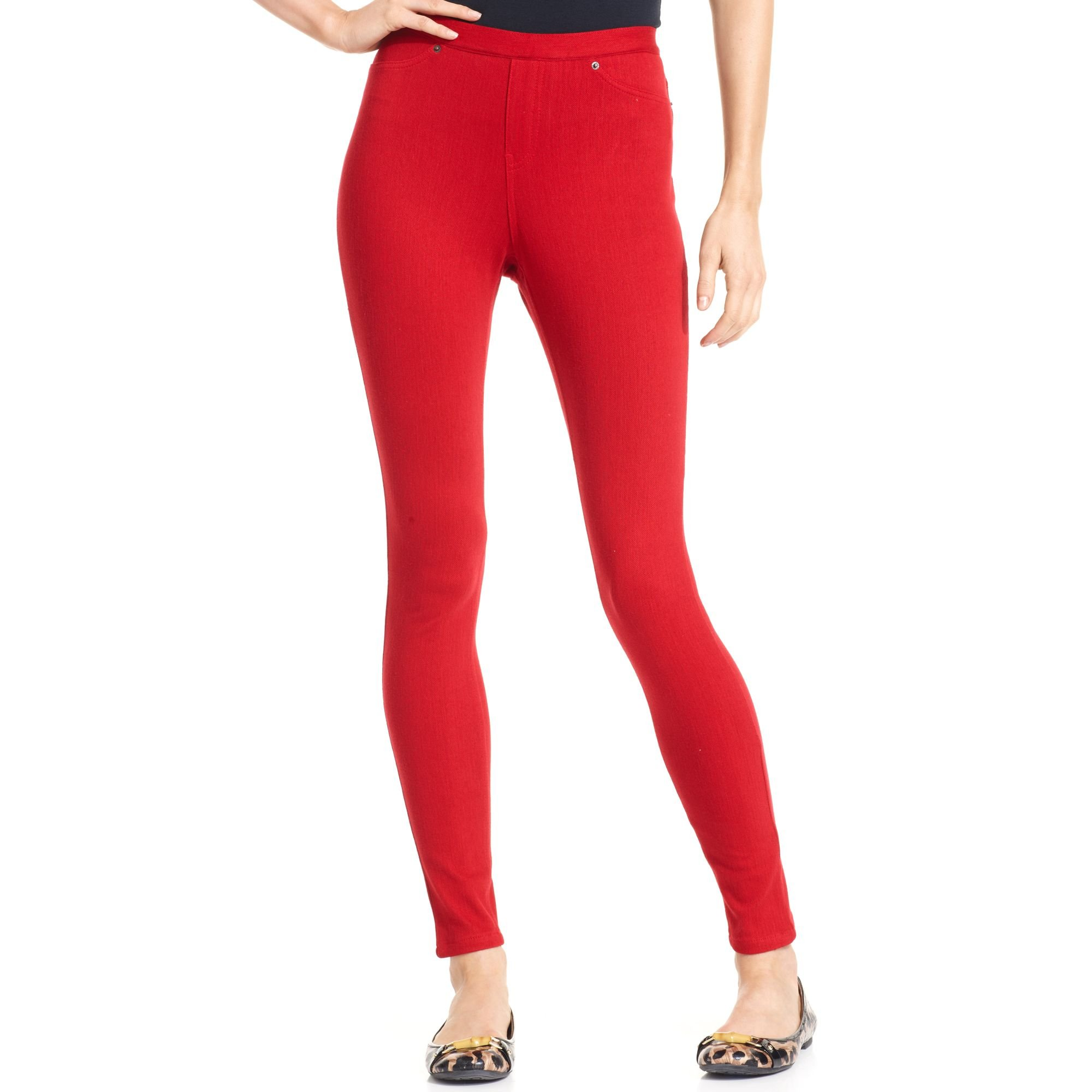 Hue Plus Size Original Jeans Solid Color Leggings Deep Red Small by HUE