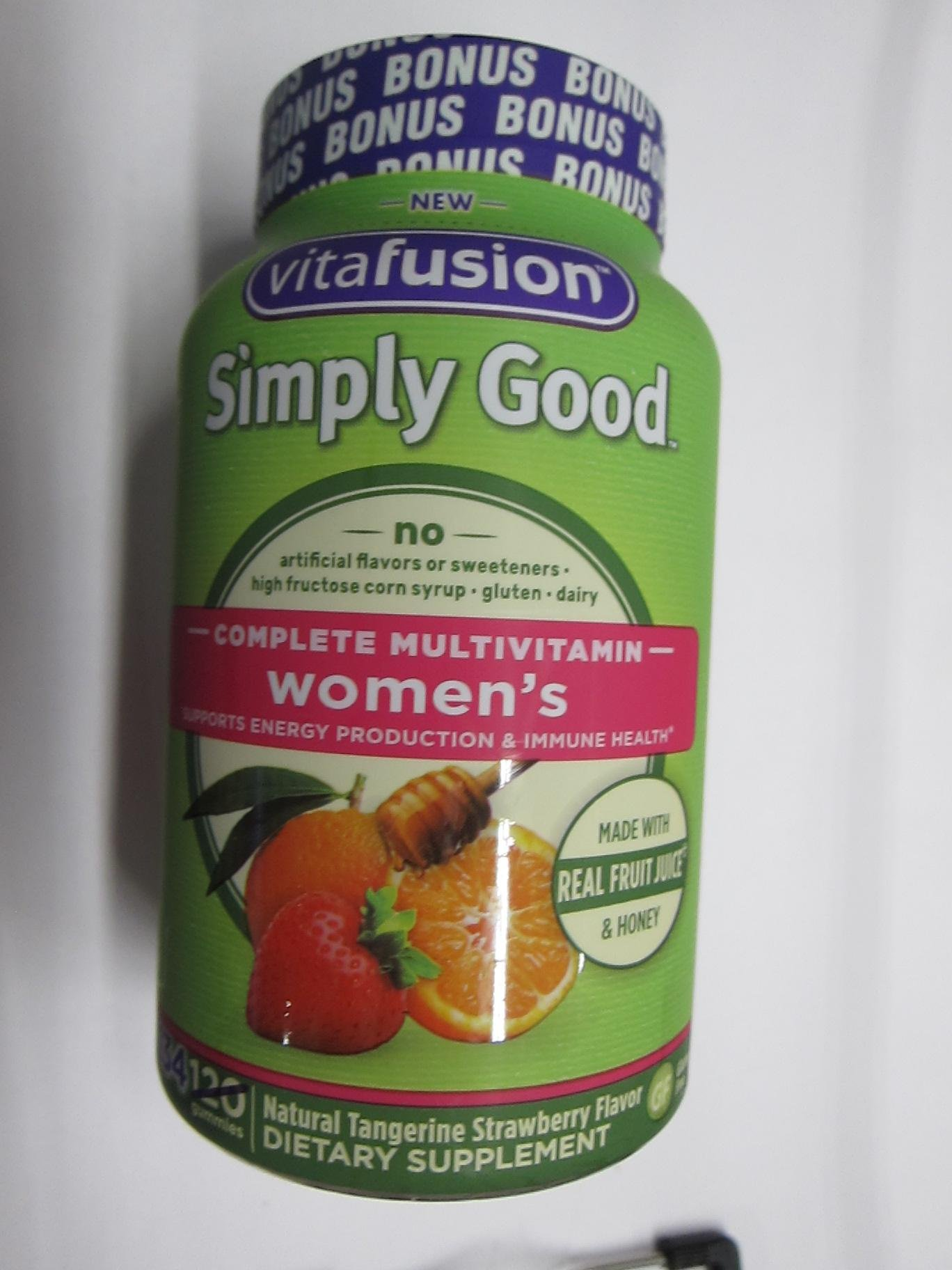Vitafusion Simply Good Complete Multivitamin Women's, Tangerine Strawberry, 134 Gummies (Pack of 2)