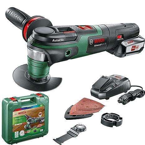 Bosch AdvancedMulti 18 - Multiherramienta a batería con maletín (1 batería 18V, cargador, plato lijador delta, set de hojas de lija, 2x hojas de ...