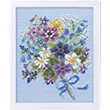 オリムパス製絲 クロスステッチ 刺しゅうキット フラワーガーデン やさしい花刺しゅう額 スイートフラワー ブルー 7283