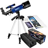 CSSEA 70mm Telescope for Kids and Astronomy Beginners, Travel Scope with Adjustable Tripod & Finder Scope & Two Eyepieces(K25mm & K10mm)-Perfect for Children Educational and Gift