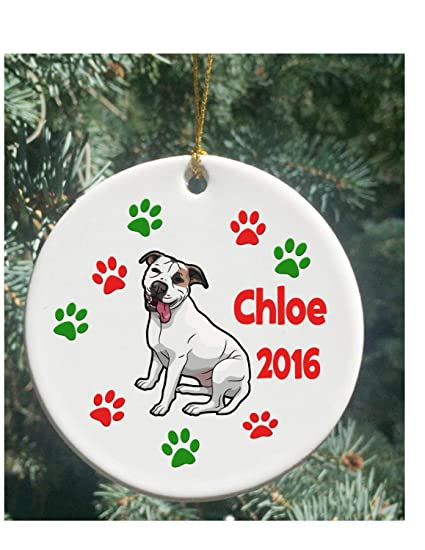 Pitbull Christmas Ornament.Amazon Com Personalized Christmas Ornaments Dog White