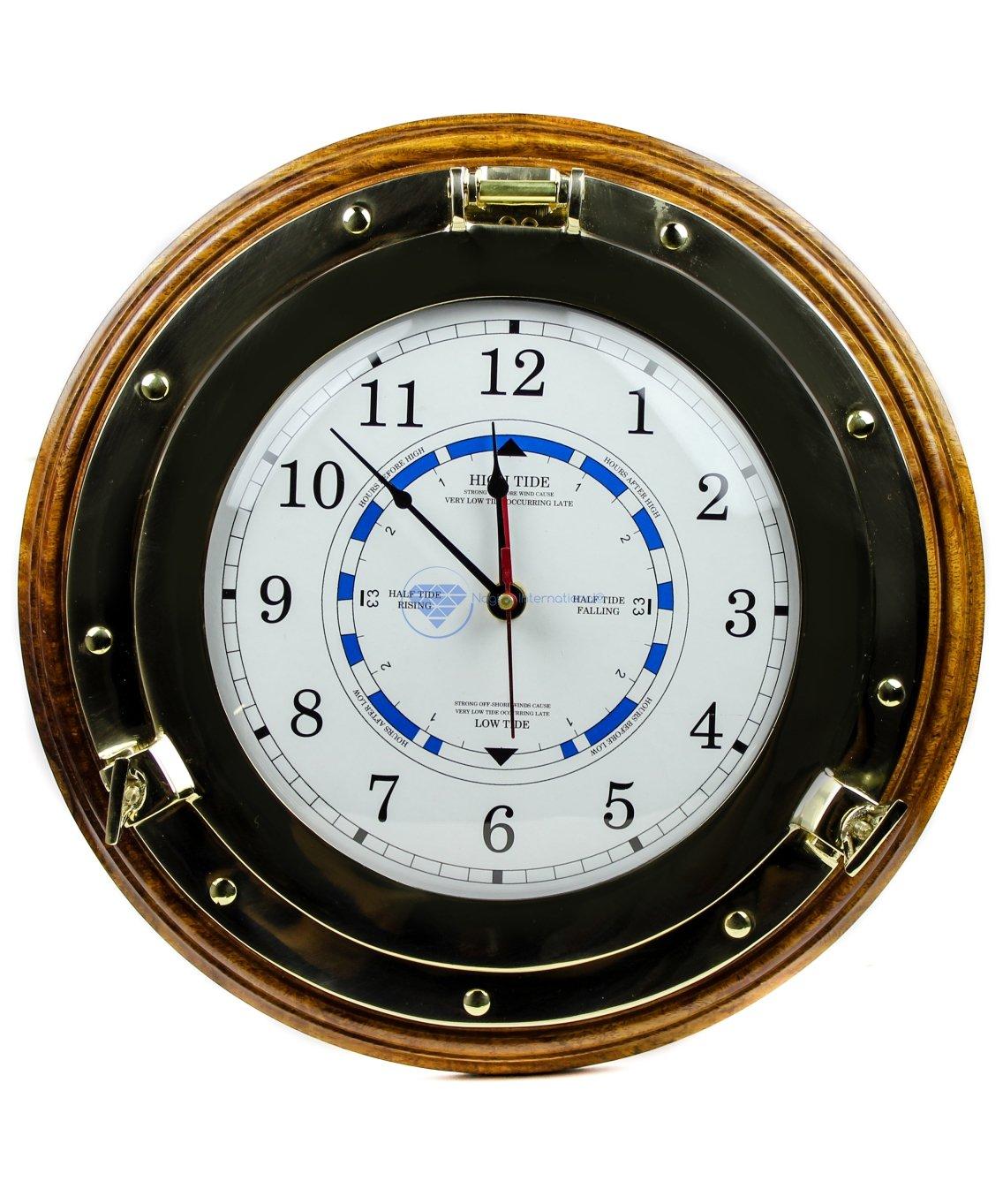 Beautiful Navy Style Time Tide Clock | Nautical Brass Decor Gift | Nagina International (14 Inches) by Nagina International