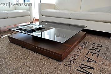 Amazon De Design Couchtisch V 570 Nussbaum Walnuss Getontes Glas